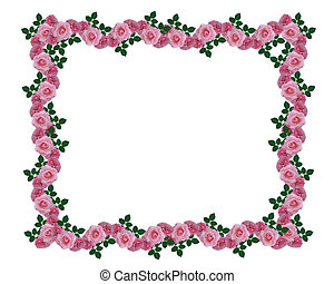 Pink roses garland border - Image and illustration...