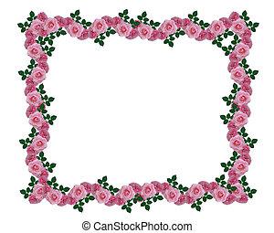 Pink roses garland border - Image and illustration...