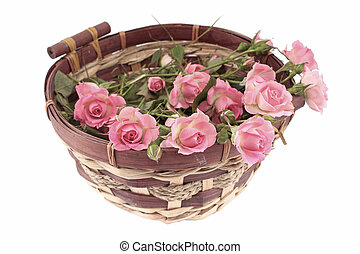 Pink roses in a basket