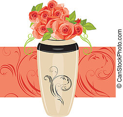Pink roses in the ceramic vase. Vector illustration
