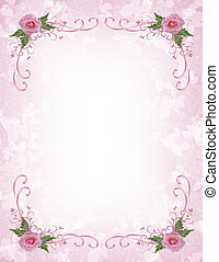 Pink roses Invitation border - Image and illustration...