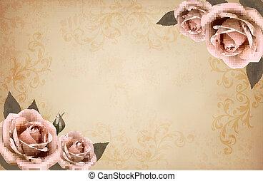 Pink roses on a vintage old paper background. Vector.