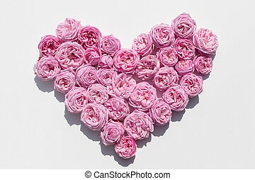 Pink roses on a white background laid out in the shape of a hear