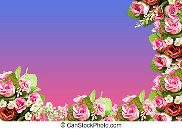 Pink roses plastic bouquet with free space for text background