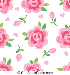 Pink roses seamless background