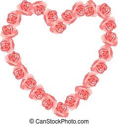 Pink roses shaped heart frame