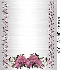 Pink Roses Wedding Border on Satin