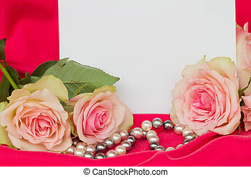 pink roses with  blank card