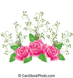 Pink roses with green floral ornament