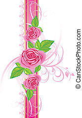 Pink roses with ornament on the decorative ribbon. Vector...