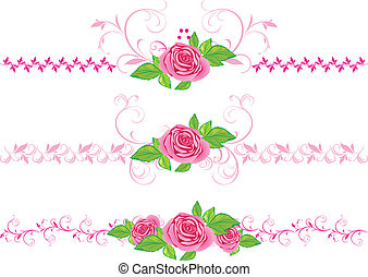 Pink roses with ornament. Three decorative borders. Vector illustration
