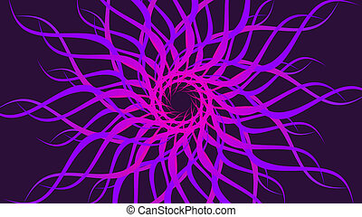 Pink rotating patterned colorful spiral, Abstract waves background.