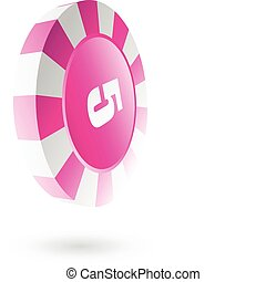 Pink roulette chip