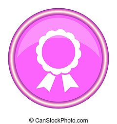 Pink round icon with ribbons. Vector illustration.