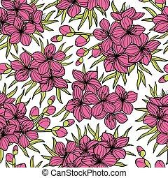 Pink sakura and green leaves seamless pattern