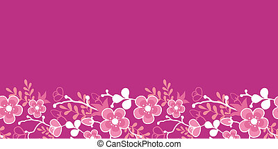 Pink Sakura Kimono Blossom Horizontal Seamless Pattern...