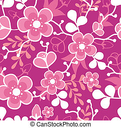 Pink Sakura Kimono Blossom Seamless Pattern Background -...