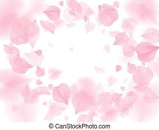 Pink sakura petals falling flower vector background. Romantic blossom isolated on white background. Overlay Valentines 3D illustration. Spring tender light center backdrop. Tenderness romance design.