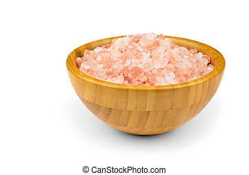 Pink salt from the Himalayas in wooden bowl on a white...