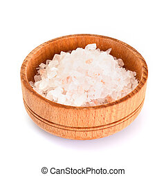 Pink Salt in Wooden Bowl Isolated on White Background