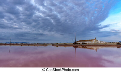 Pink salt pond in saltmine, wide angle timelapse at sunrise...