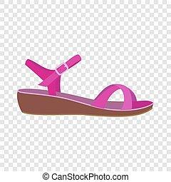 Pink sandal icon, flat style