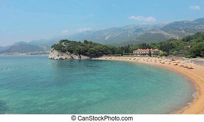 Pink sandy Milocher Beach Montenegro, 6 kilometers southeast...