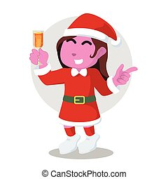 Pink santa girl on new year party