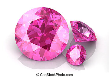 pink sapphire on white background.3D render