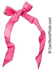 Pink satin bow isolated on white