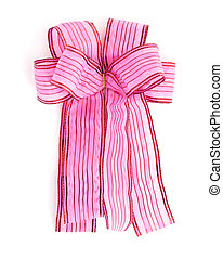 Pink Satin gift bow. ribbon isolated on white