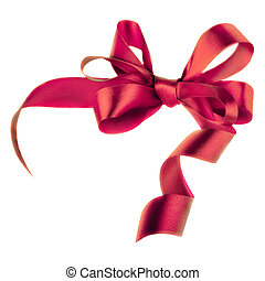 Pink satin gift bow. Ribbon. Isolated on white