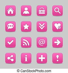 Pink satin icon web button with white basic sign