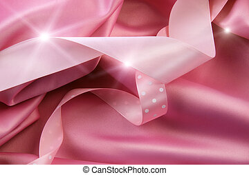 Pink satin silk background with colored ribbons