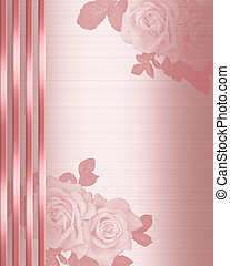 Pink Satin Wedding Invitation border