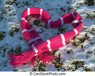 """Pink Scarf Heart - \\\""""I Love You\\\"""" sentiment left in snow..."""