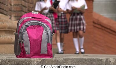 Pink School Backpack And Girls Wearing Skirts