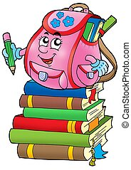 Pink school bag on books - color illustration.