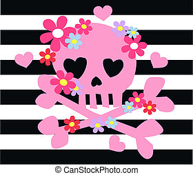 pink scull bones flowers