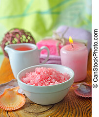 Pink sea salt and aroma oil for SPA