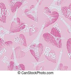 pink seamless background Eiffel tower