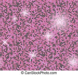 Pink seamless background with sequins. Glitter vector pattern.