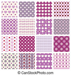 pink seamless backgrounds - vector 16 pink seamless patterns...