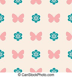 Pink seamless pattern butterfly