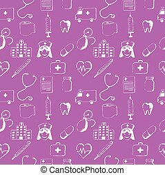 Pink seamless pattern-medical items