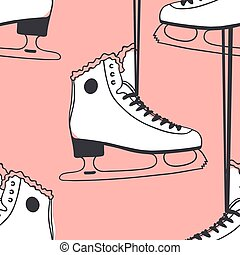 Pink Seamless pattern with racing skates. Hand drawn fashion illustration. Creative ink art work. Actual Winter cozy vector background Ice Skating