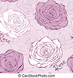 Pink seamless pattern with roses