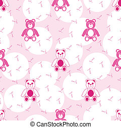 Pink Seamless Pattern with Teddy Bear