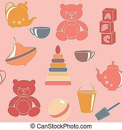 Pink seamless pattern with toys