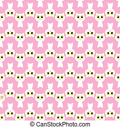 pink seamless pattern with white cat. illustrations